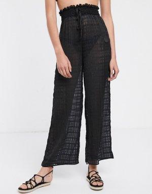 Черные пляжные брюки в полоску -Черный Fashion Union
