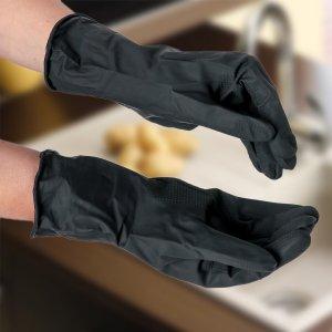 Перчатки хозяйственные защитные, химически стойкие, латекс, размер xl, 55 гр, цвет чёрный Доляна