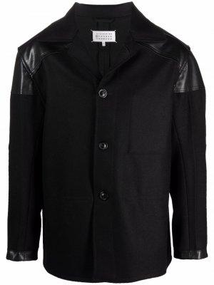 Шерстяной пиджак с контрастной вставкой Maison Margiela. Цвет: черный