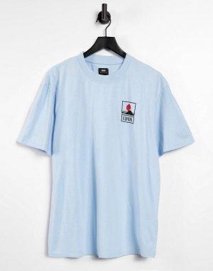 Небесно-голубая футболка с принтом горы Фудзиямы -Голубой Edwin