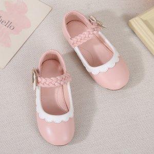Для девочек Туфли мэри джейн с фестонами SHEIN. Цвет: розовые