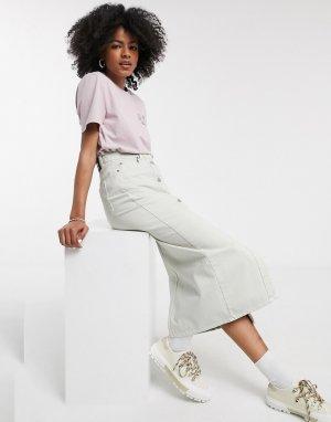Бежевая джинсовая юбка с пуговицами -Бежевый Dr Denim