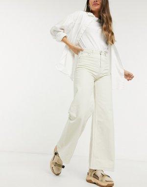 Широкие джинсы из органического хлопка -Бежевый Weekday