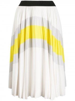 Плиссированная юбка в стиле колор-блок Karl Lagerfeld. Цвет: белый