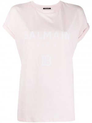 Футболка с логотипом Balmain. Цвет: розовый