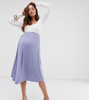 Короткая расклешенная юбка миди ASOS DESIGN Maternity-Синий Maternity