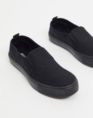 Черные кеды-слипоны Dotty-Черный ASOS DESIGN
