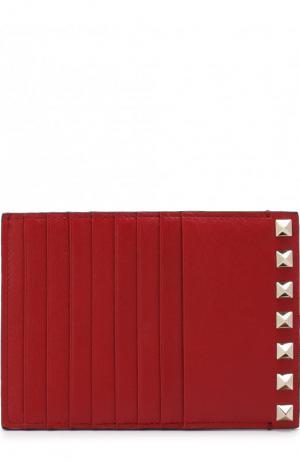 Кожаный футляр для кредитных карт Garavani Rockstud Valentino. Цвет: красный