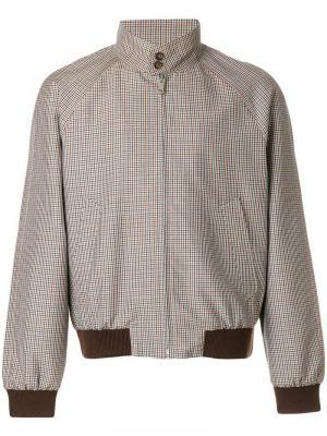 Куртка-бомбер в мелкую клетку гингем Prada. Цвет: коричневый