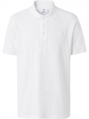 Рубашка поло с вышитой монограммой Burberry. Цвет: белый