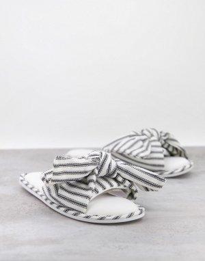 Слиперы с открытым носком и бантом в черно-белую полоску -Многоцветный Totes