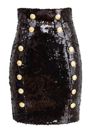 Расшитая пайетками юбка-мини на высокой талии с золотистой отделкой BALMAIN. Цвет: черный