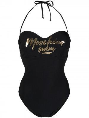 Слитный купальник с вырезом халтер в форме сердца Moschino. Цвет: черный