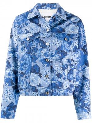 Джинсовая куртка с цветочным принтом MSGM. Цвет: синий