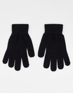 Черные вязаные перчатки -Черный цвет Boardmans