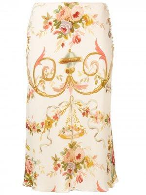 Юбка миди с цветочным узором Christian Dior. Цвет: нейтральные цвета