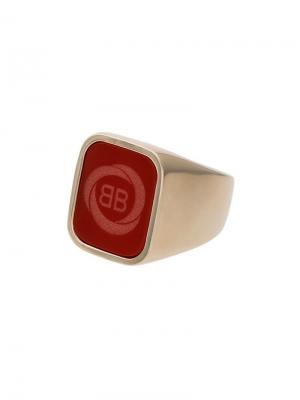 Квадратное кольцо с логотипом Balenciaga. Цвет: красный