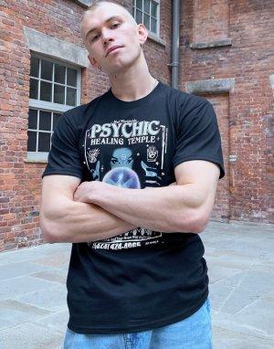 Черная футболка с принтом Psychic Temple -Черный HUF