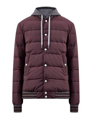 Куртка-бомбер из влагозащитного нейлона и шерсти ELEVENTY. Цвет: бордовый