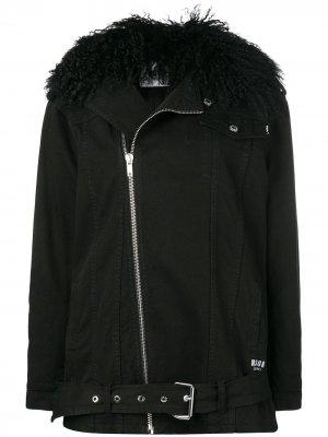 Джинсовая куртка с воротником из овчины MSGM. Цвет: черный