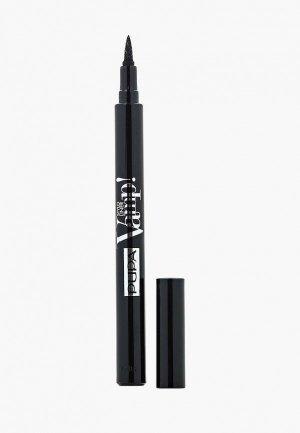 Подводка для глаз Pupa маркер, тон 100 эсктра-черный, 1.5 мл. Цвет: черный