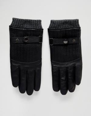 Стеганые кожаные перчатки Boardmans. Цвет: черный