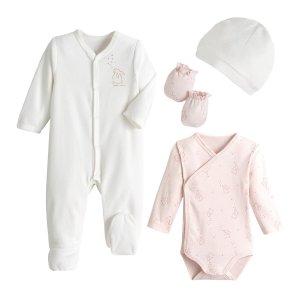 Комплект для новорожденного из велюра LaRedoute. Цвет: белый