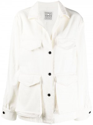 Джинсовая куртка оверсайз Totême. Цвет: белый