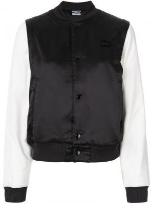 Куртка-бомбер с контрастными рукавами Puma. Цвет: чёрный