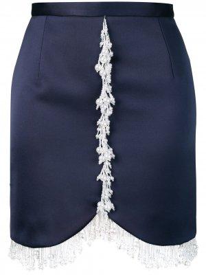 Атласная юбка мини с жемчугом Christopher Kane. Цвет: синий