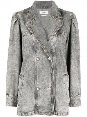 Двубортная джинсовая куртка Isabel Marant Étoile. Цвет: серый