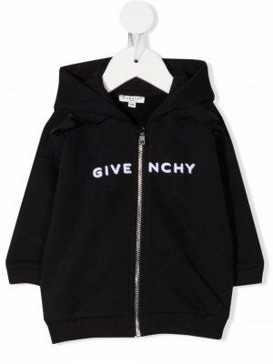 Embroidered logo cotton hoodie Givenchy Kids. Цвет: черный