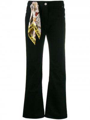 Расклешенные джинсы с декоративным платком Off-White. Цвет: черный