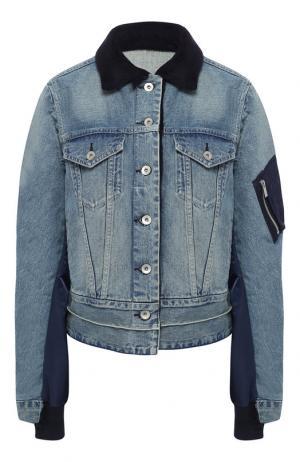 Джинсовая куртка с потертостями Sacai. Цвет: голубой