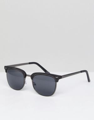Черные солнцезащитные очки в стиле ретро -Серебристый ASOS DESIGN