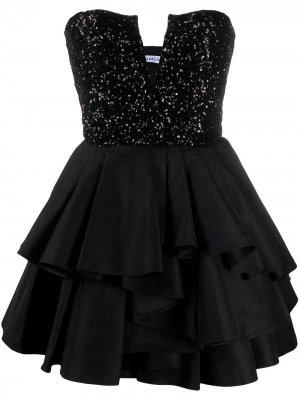 Короткое платье с оборками Amen. Цвет: черный
