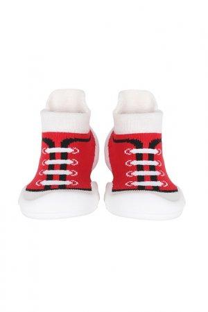 Носочки-ботиночки Ggomoosin. Цвет: красный, белый