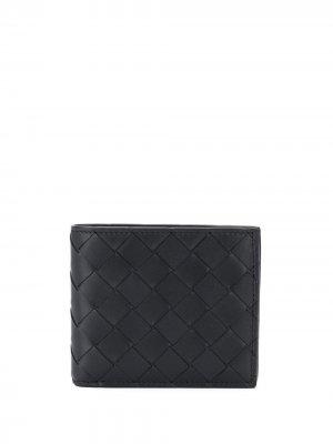 Складной плетеный бумажник Bottega Veneta. Цвет: черный