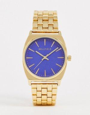 Женские наручные часы с синим циферблатом -Золотой Bellfield