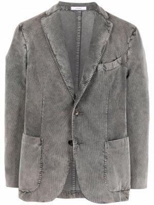 Однобортный пиджак с заостренными лацканами Boglioli. Цвет: серый