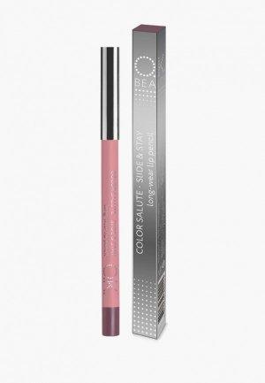 Карандаш для губ OK Beauty COLOR SALUTE SLIDE and STAY long-wear lip pencil, тон URANIA. Цвет: коричневый