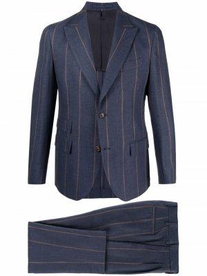 Полосатый костюм с однобортным пиджаком Eleventy. Цвет: синий