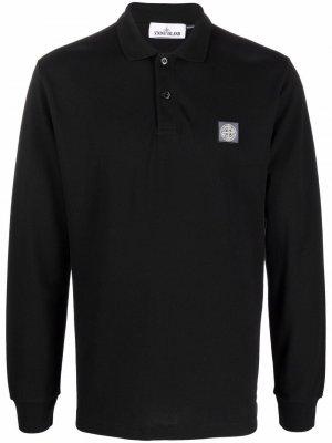 Рубашка поло с длинными рукавами и нашивкой-логотипом Stone Island. Цвет: черный