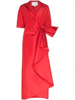 Присборенное платье макси Carolina Herrera. Цвет: красный