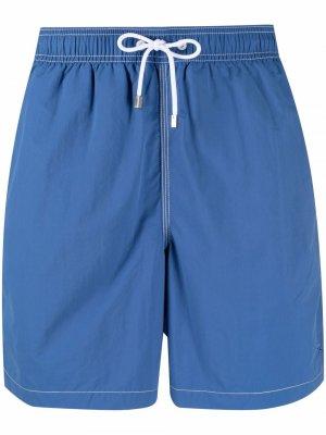 Плавки-шорты с нашивкой-логотипом и карманом Hackett. Цвет: синий