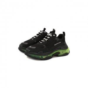 Комбинированные кроссовки Triple S Clear Sole Balenciaga. Цвет: чёрный