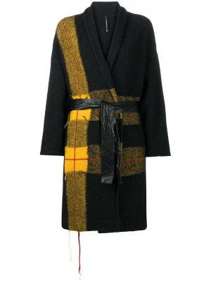 Пальто со вставками в клетку Pierantoniogaspari. Цвет: черный
