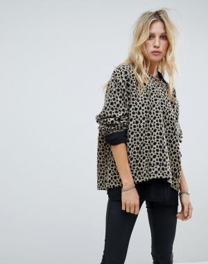 Свободный джемпер с леопардовым принтом Religion. Цвет: мульти
