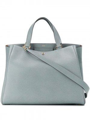 Большая сумка-тоут Valextra. Цвет: синий