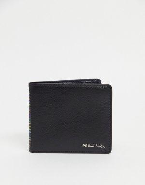 Черный кожаный бумажник с логотипом и полосками PS Paul Smith